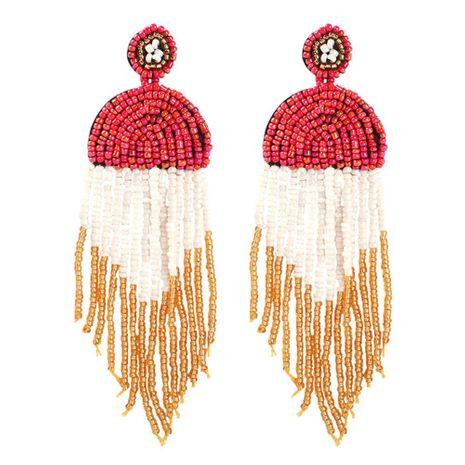 Bohemian retro colorblock tassel earrings NHMD152277's discount tags