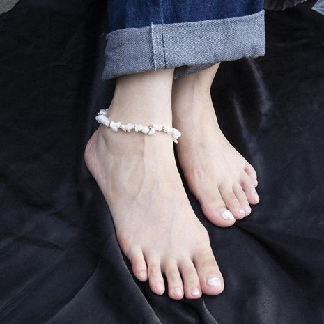 Irregular single layer rough stone geometric anklet bracelet NHXR152297's discount tags