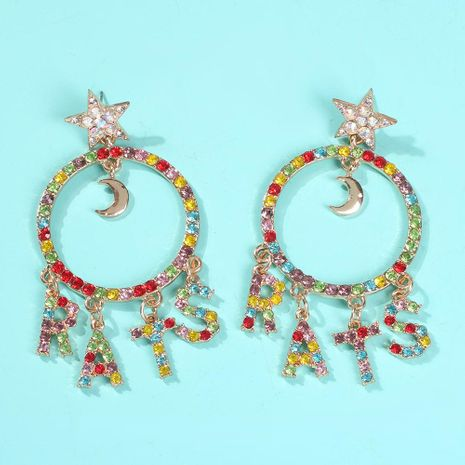 Fashion Alloy Synthetic Gemstone Geometric Round Letter Earrings NHMD152316's discount tags