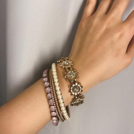 Fashion Sun Flower Artificial Gemstone Pearl Crystal Bracelet NHXR152314's discount tags