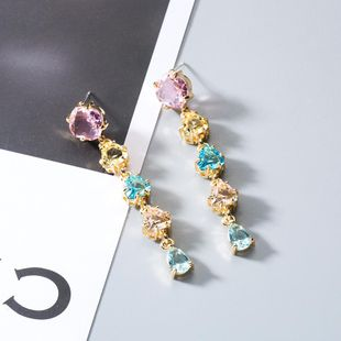Fashion color zircon crystal earrings NHWF152323's discount tags