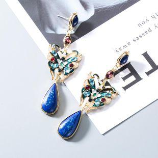 Vintage long butterfly alloy earrings NHWF152347's discount tags
