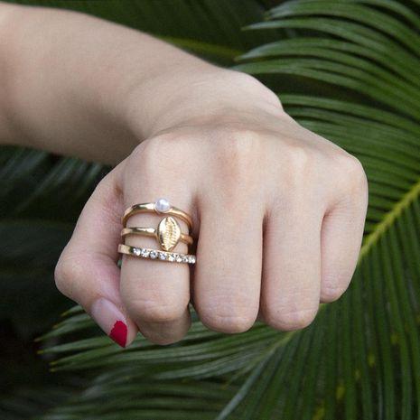 Fashion Shell Pearl Diamond Set Ring NHXR152370's discount tags