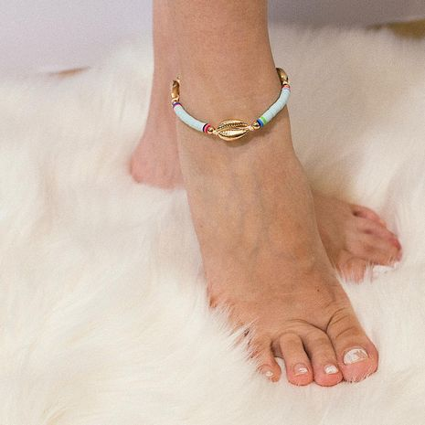 Ethnic style color shell soft pottery anklet bracelet NHXR152404's discount tags