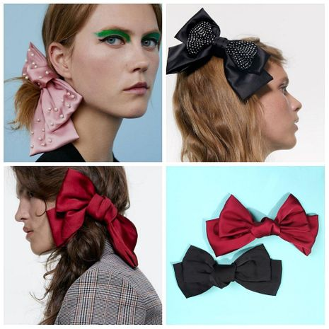 Vintage elegant bow artificial gemstone hair accessory NHMD152408's discount tags