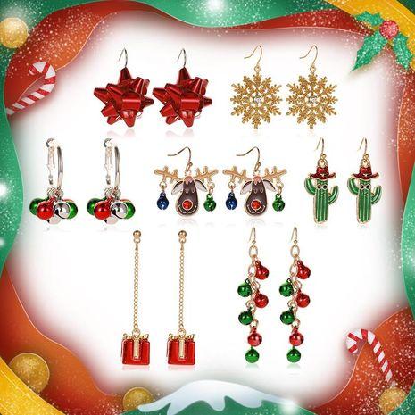 Christmas Snowflakes Ribbon Bell Deer Earrings NHDP152412's discount tags