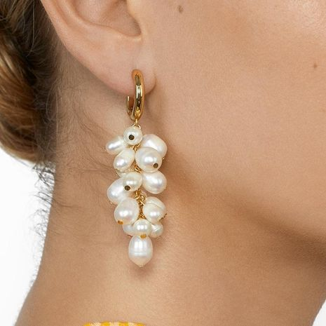 New grape-shaped pearl earrings NHJJ152417's discount tags