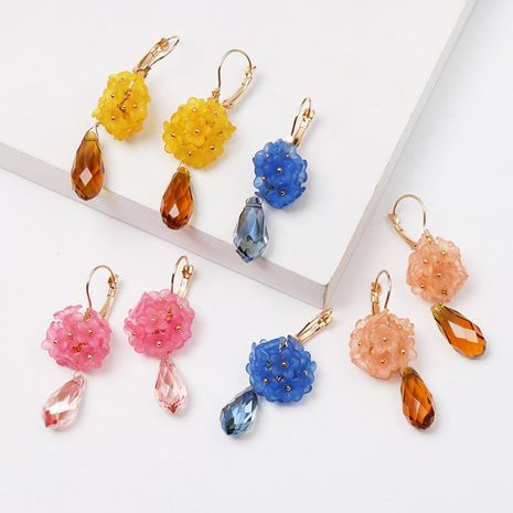 Stitching Floral Color Acrylic Earrings NHJJ152418's discount tags