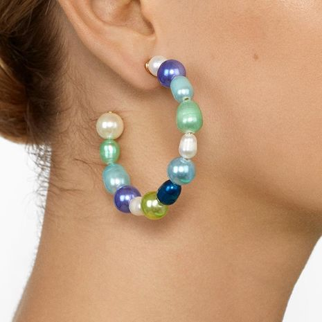 New C-shaped colored pearls hoop earrings NHJJ152419's discount tags