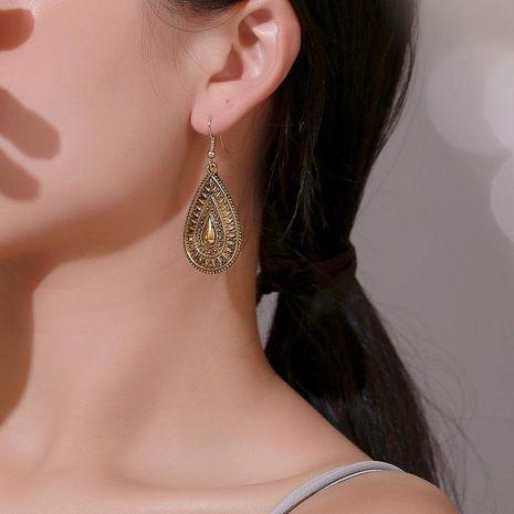 Metal drop-shaped vintage engraved earrings NHDP152425's discount tags
