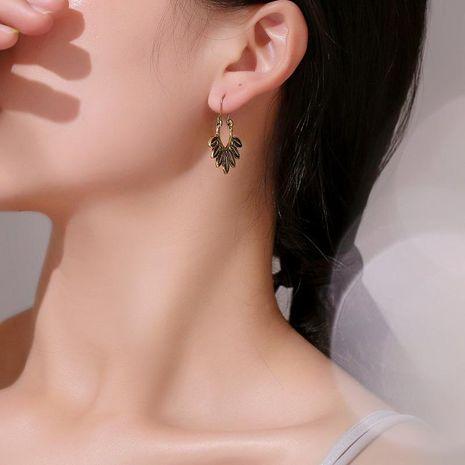 Vintage Alloy Leaf U-shaped hoop earrings NHDP152428's discount tags