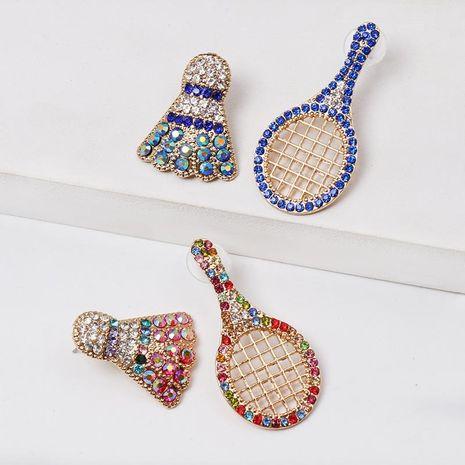 Colored diamond badminton racket stud earrings NHJJ152430's discount tags