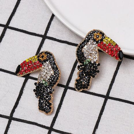 Colored diamond-studded woodpecker stud earrings NHJJ152433's discount tags