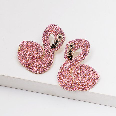 Colorful diamond swan earrings NHJJ152442's discount tags