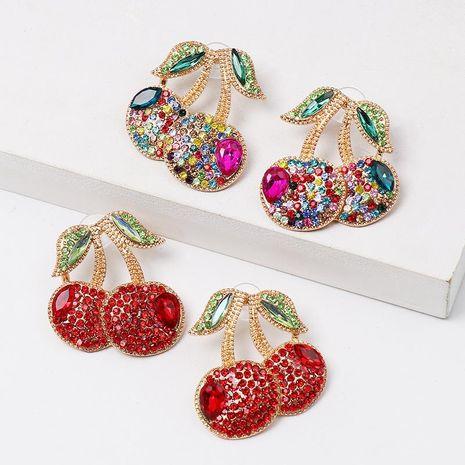 Fashion colorful cherry cherries diamond stud earrings NHJJ152445's discount tags