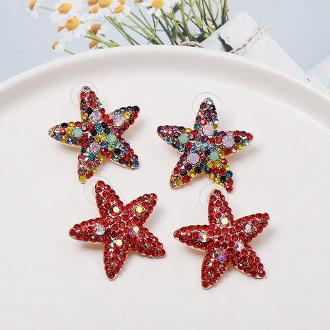 Red diamond starfish stud earrings NHJJ152446's discount tags