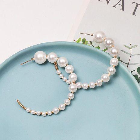 New C-shaped size pearl hoop earrings NHJJ152447's discount tags