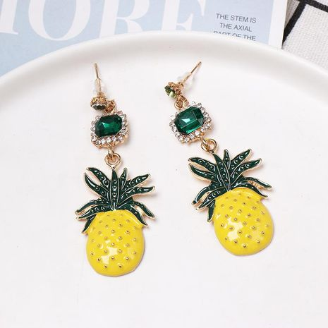 New diamond-encrusted pineapple earrings NHJJ152452's discount tags