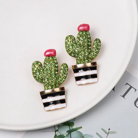 Fashion hand-painted glazed cactus stud earrings NHJJ152454's discount tags