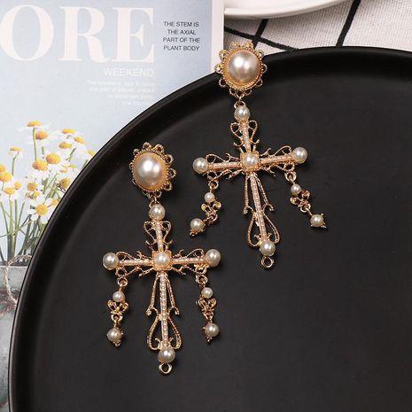 Fashion Alloy Cross Pearl Earrings NHJJ152457's discount tags