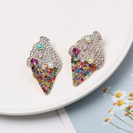 Fashion diamond color ice cream pearl stud earrings NHJJ152459's discount tags