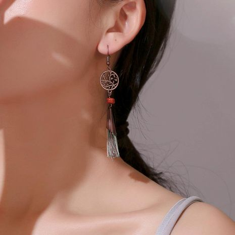 Vintage openwork leaf metal tassel earrings NHDP152461's discount tags