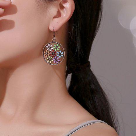 Vintage openwork color flower earrings NHDP152464's discount tags