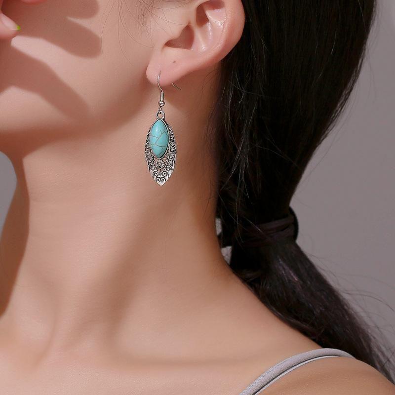 Vintage carved openwork turquoise earrings NHDP152466
