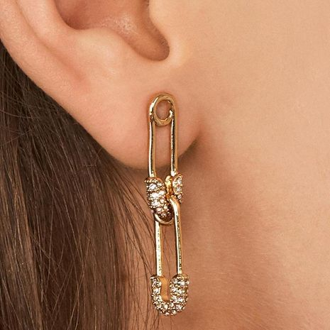Fashion Diamond Double Pin Earrings NHJJ152467's discount tags