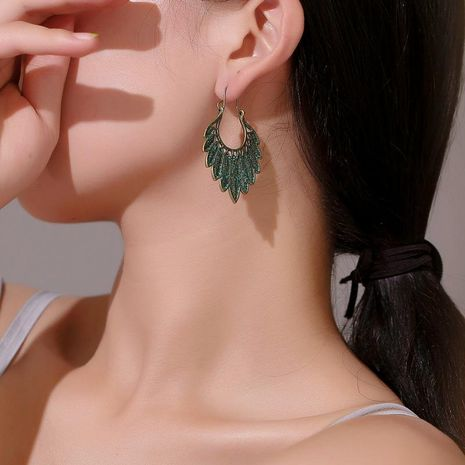 Fashion antique bronze leaves hoop earrings NHDP152468's discount tags