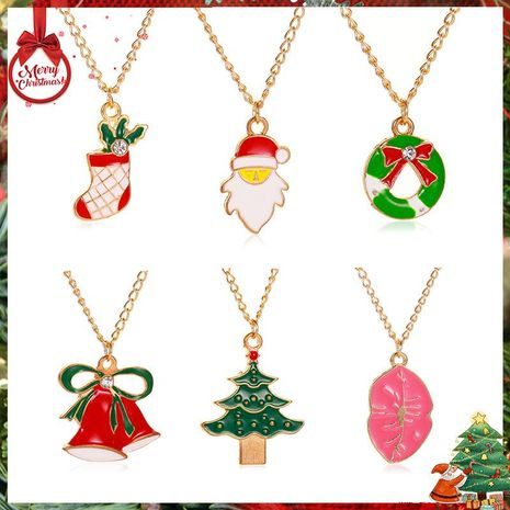 New Christmas Santa Donut Drops Necklace NHDP152482's discount tags