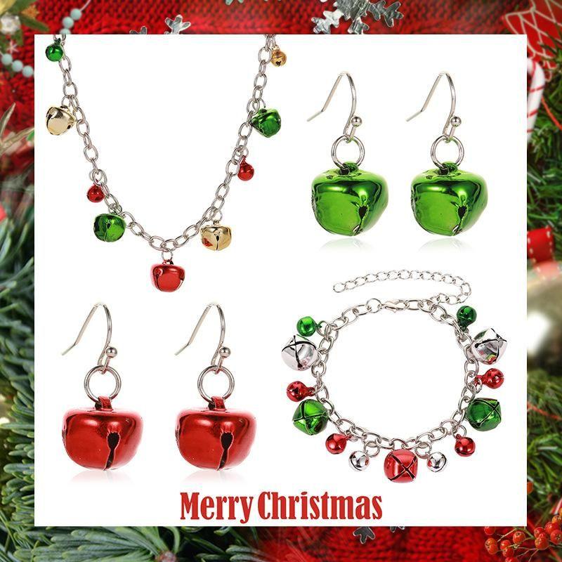Nuevos aretes de pulsera de collar de campana de color navideño NHDP152483
