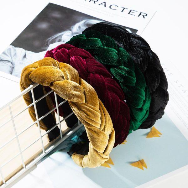 Fashion solid color velvet tweezers headband NHJE152514