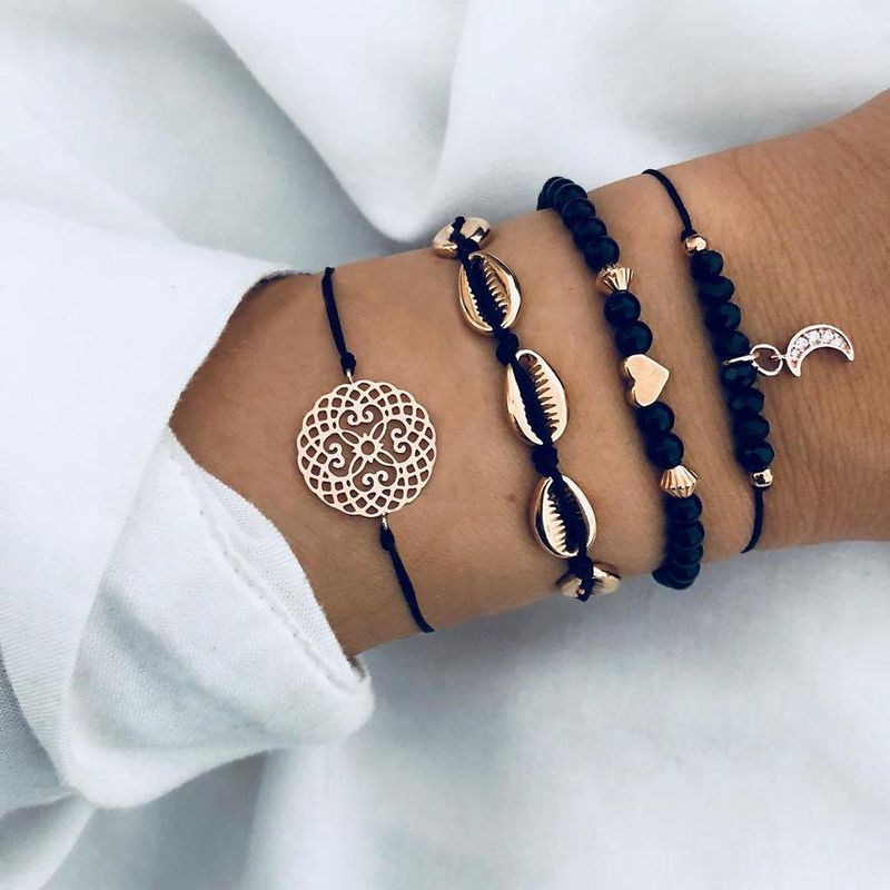 Fashion handmade shell hollow round bracelet set NHPV152521