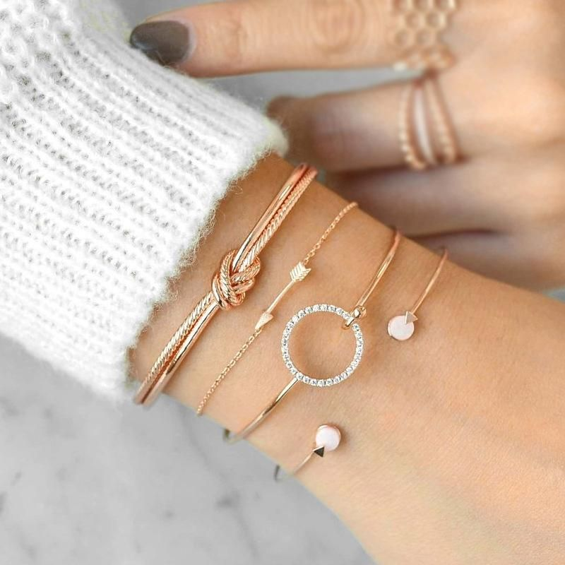 Fashion circle diamond arrow bracelet set NHPV152523