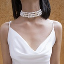 Temperament exaggerated multilayer pearl geometry choker NHXR152256