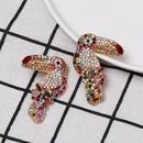 Colored diamondstudded woodpecker stud earrings NHJJ152433