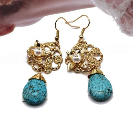 Fashion woven openwork turquoise alloy earrings NHOM152560's discount tags