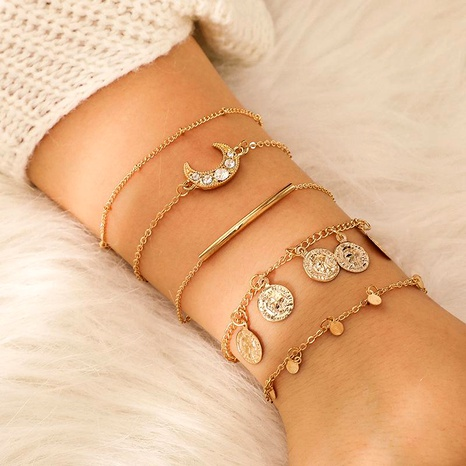 Fashion Alloy Artificial Gemstone Moon Metal Disc Bracelet Set NHGY152567's discount tags