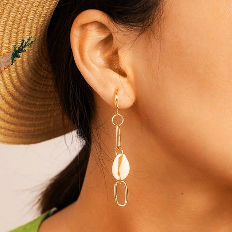 Creative metal chain shell long alloy earrings NHGY152579's discount tags
