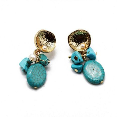 Fashion flowers turquoise gravel alloy earrings NHOM152571's discount tags