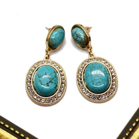 Vintage texture exaggerated oval turquoise earrings NHOM152578's discount tags