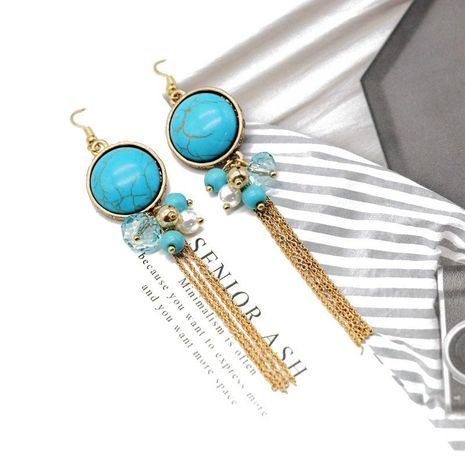 Vintage long fringed turquoise earrings NHOM152570's discount tags