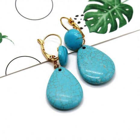 Vintage Drop Shaped Textured Turquoise Earrings NHOM152589's discount tags
