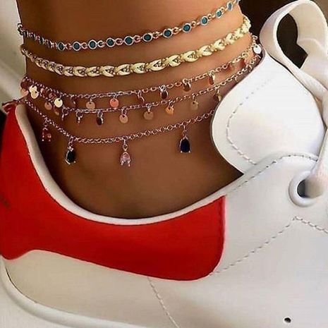 Fashion hand-knitted wire rope alloy round diamonds drop 5 sets of anklet bracelet NHGY152590's discount tags