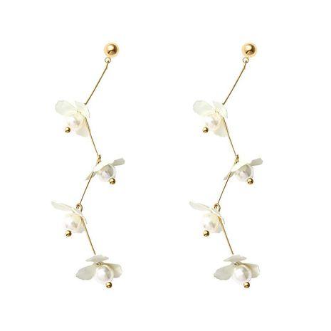 Korean temperament long pearl flower alloy earrings NHLL152602's discount tags