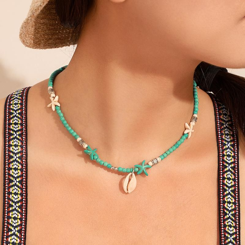 Fashion Shell Starfish String Blue Beizhu Single Layer Necklace NHGY152620