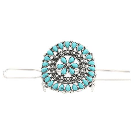 Vintage turquoise flower hair accessory NHHN152624's discount tags