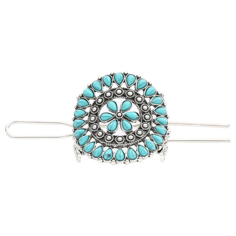 Vintage turquoise flower hair accessory NHHN152624