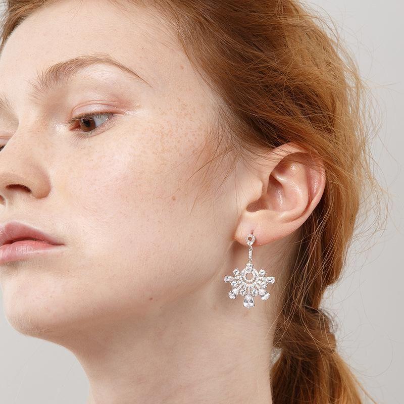 Long 925 sterling silver snowflake alloy earrings NHLL152635